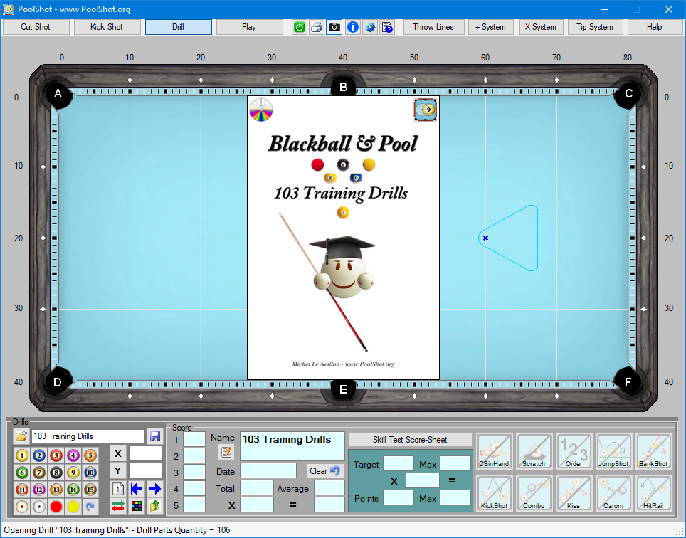 103 Training Drills DRL File for PoolShot Software - Novice to Intermediate Players Level 1