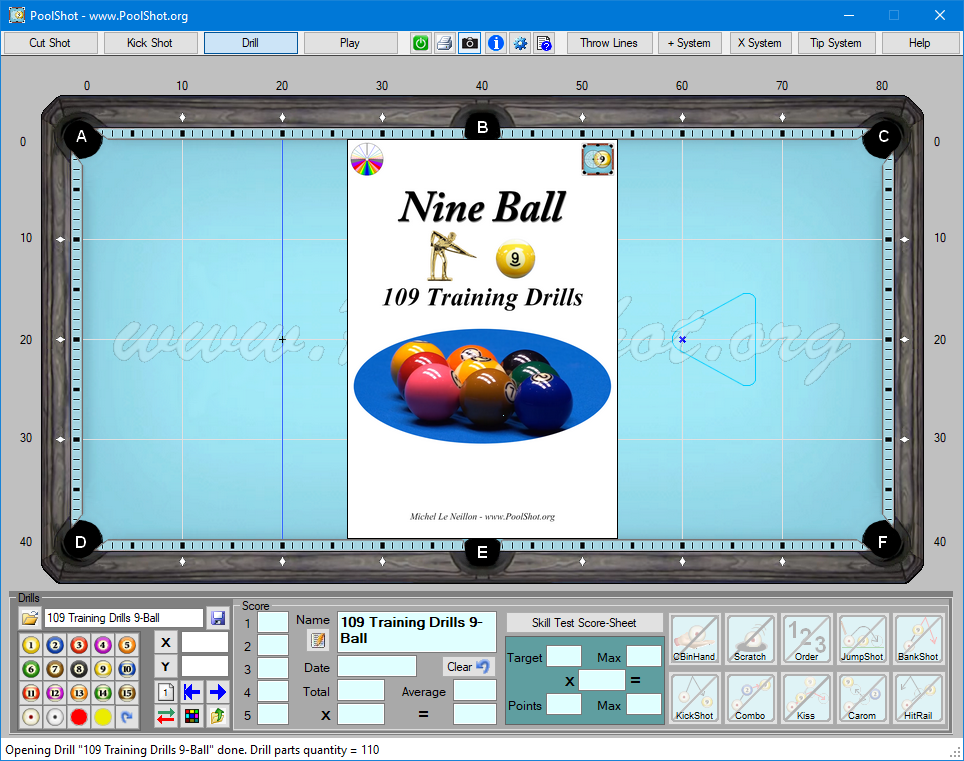 109 Training Drills DRL File for PoolShot Software - Novice to Advanced Players