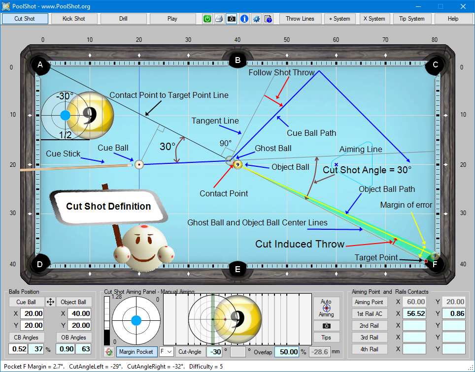 PoolShot, The Pool Aiming Training Software - Drills