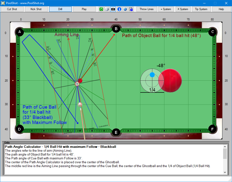 Path Angle Calculator - 1-4 Ball Hit with maximum Follow - Blackball