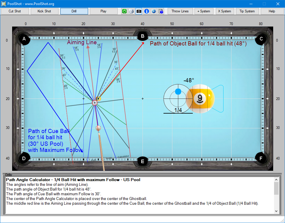 Path Angle Calculator - 1-4 Ball Hit with maximum Follow - US Pool