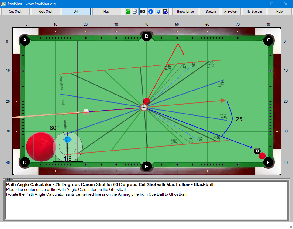 Path Angle Calculator - 25 Degrees Carom Shot for 60 Degrees Cut Shot with Max Follow - Blackball