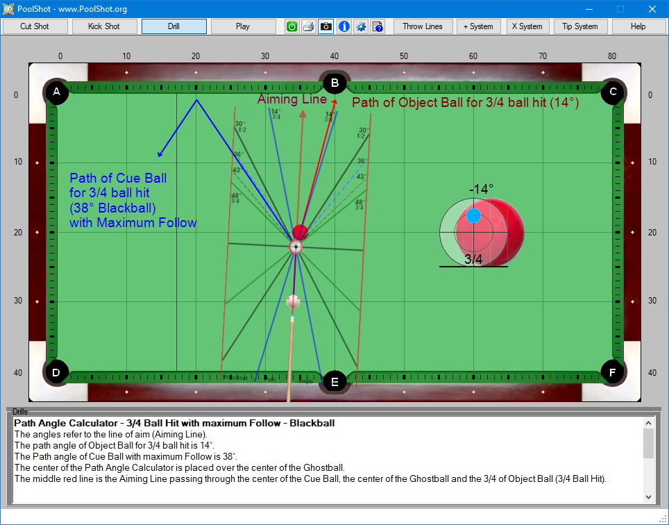 Path Angle Calculator - 3-4 Ball Hit with maximum Follow - Blackball