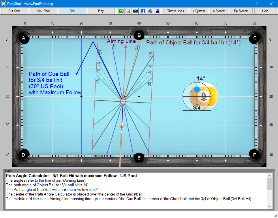 Path Angle Calculator - 3-4 Ball Hit with maximum Follow - US Pool