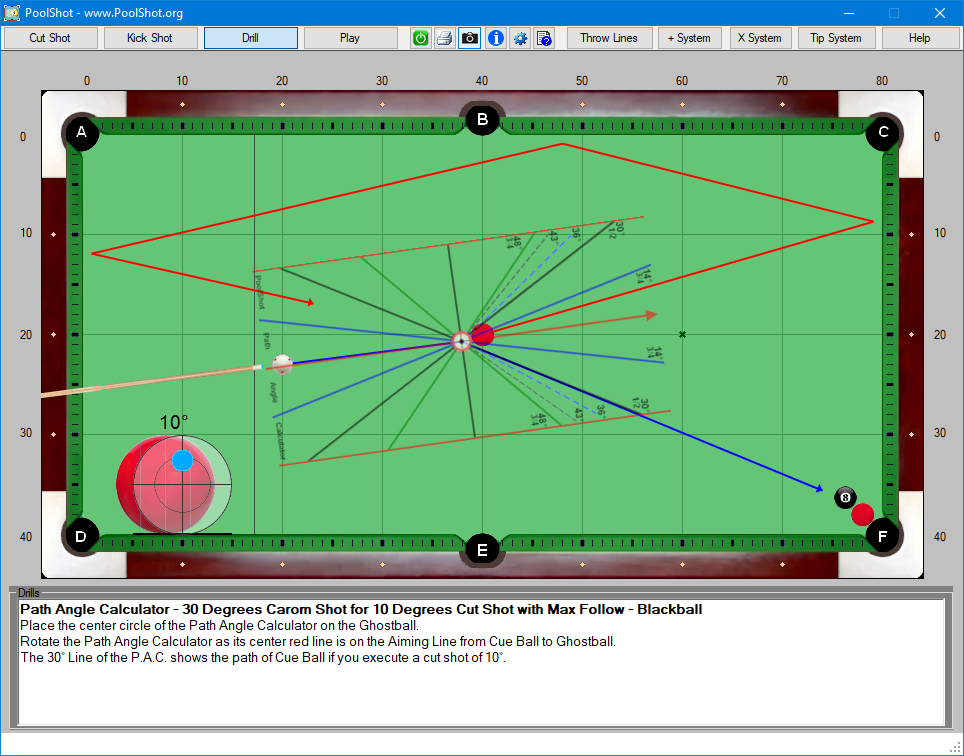 Path Angle Calculator - 30 Degrees Carom Shot for 10 Degrees Cut Shot with Max Follow - Blackball