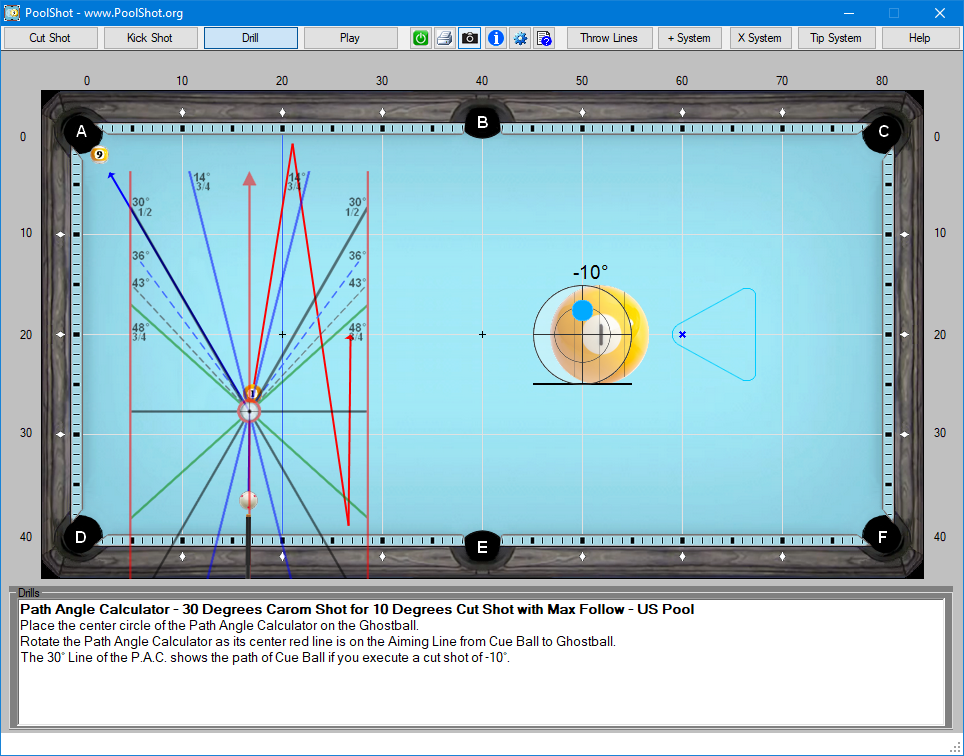 Path Angle Calculator - 30 Degrees Carom Shot for 10 Degrees Cut Shot with Max Follow - US Pool
