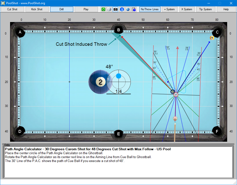 Path Angle Calculator - 30 Degrees Carom Shot for 48 Degrees Cut Shot with Max Follow - US Pool