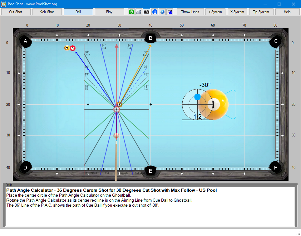 Path Angle Calculator - 36 Degrees Carom Shot for 30 Degrees Cut Shot with Max Follow - US Pool