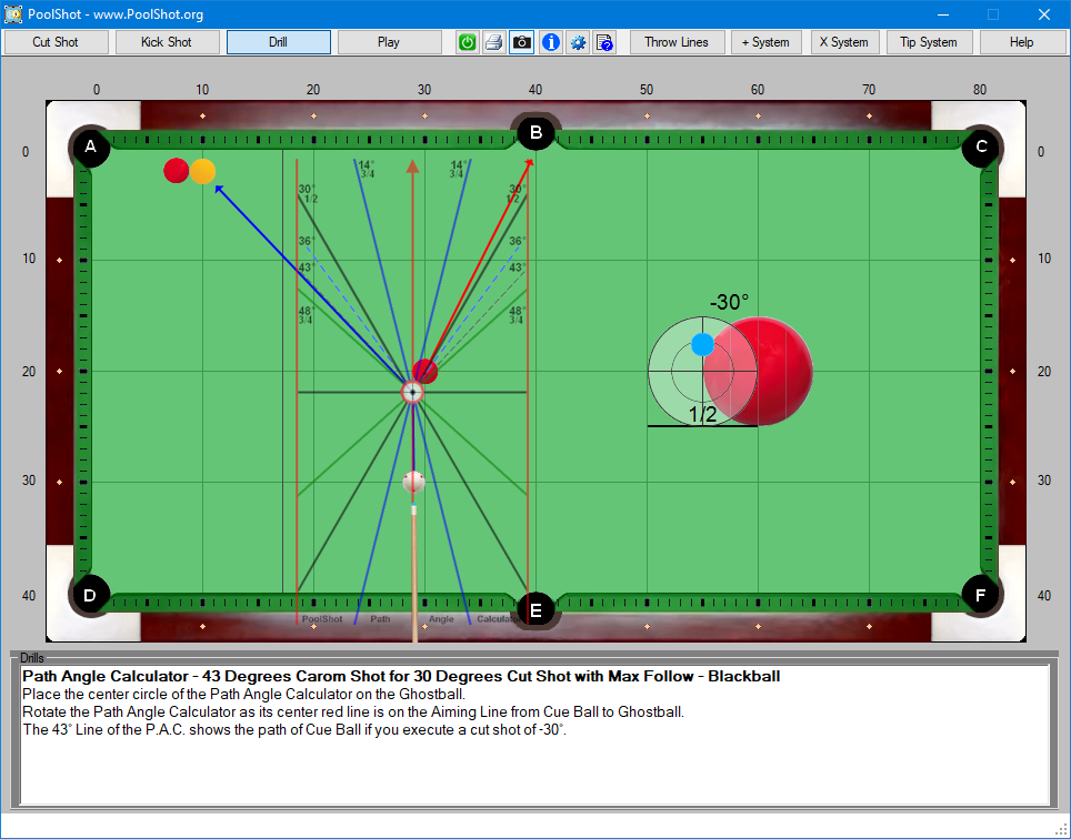 Path Angle Calculator - 43 Degrees Carom Shot for 30 Degrees Cut Shot with Max Follow - Blackball