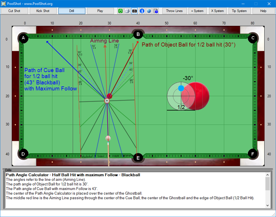 Path Angle Calculator - Half Ball Hit with maximum Follow - Blackball