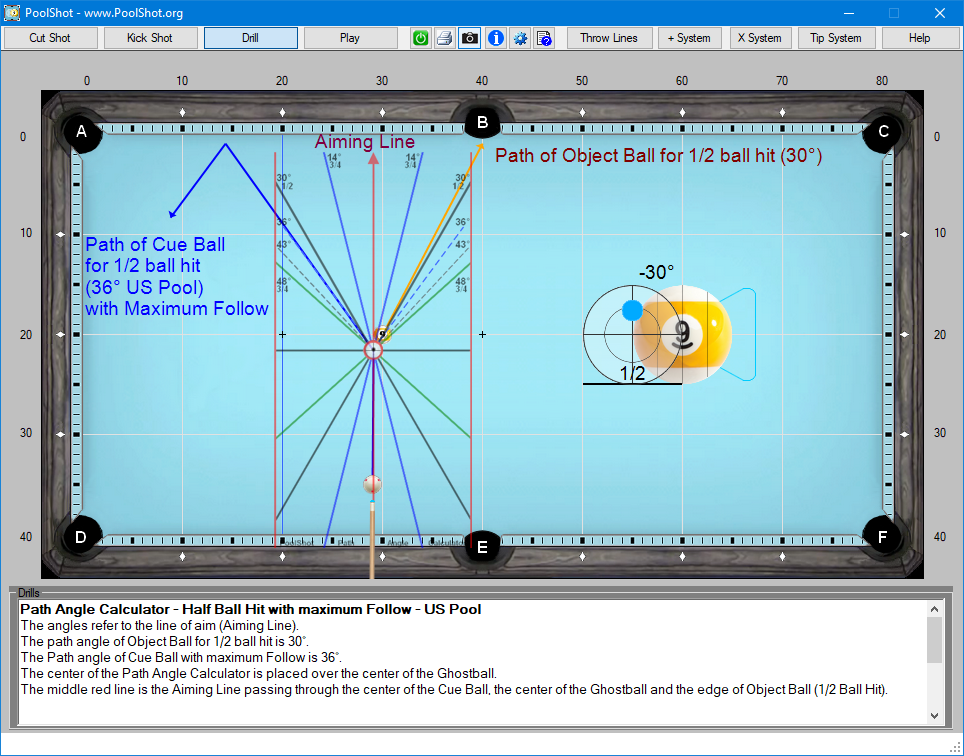 Path Angle Calculator - Half Ball Hit with maximum Follow - US Pool